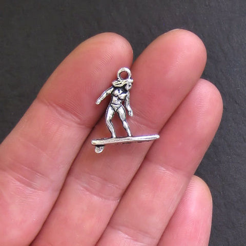 Surfer Charms Antique Silver Tone