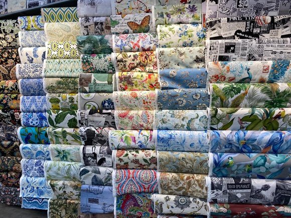 different designs of fabric on display