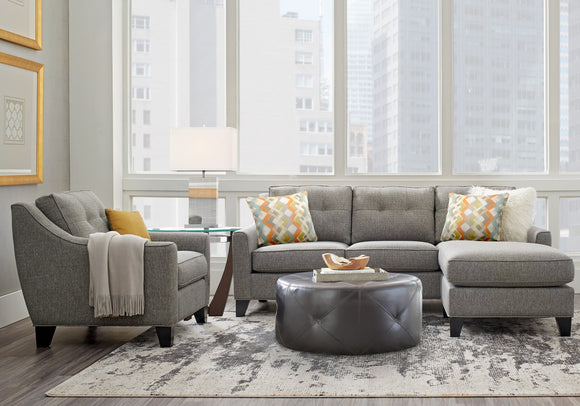 sectional with pillows and ottoman