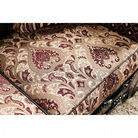 Upholstered damask cushion