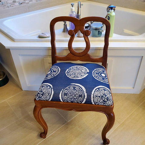 chair with bohemian blue fabric