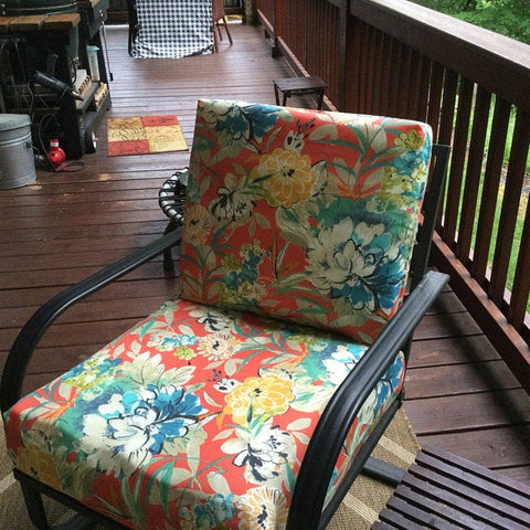 Red floral outdoor chair