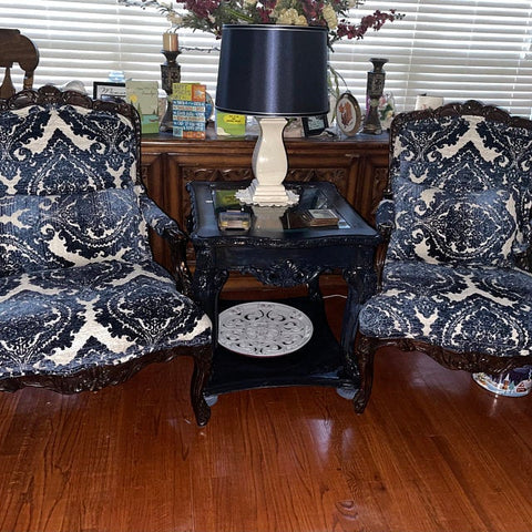 two blue damask chairs