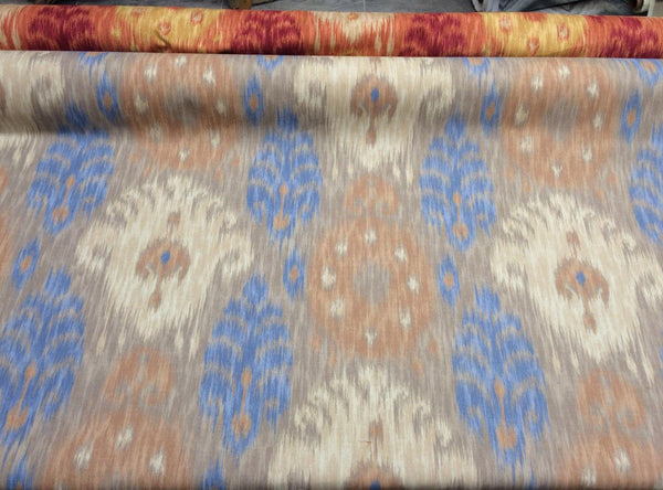 Home Accent IKAT Blue Tan Caf printed Cotton Drapery / upholstery Fabric