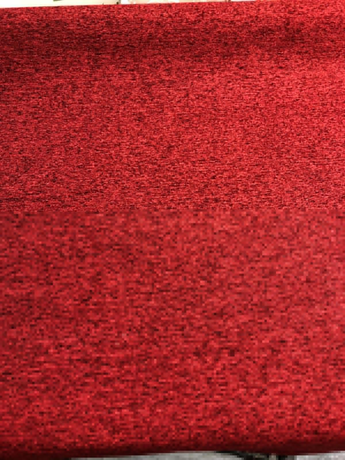 1.5 Yards Nubby Red Chenille Upholstery Fabric Ruby Basket Weave Textured Geometric