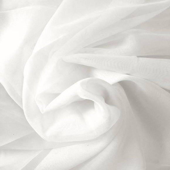 White Gathered Voile fabric