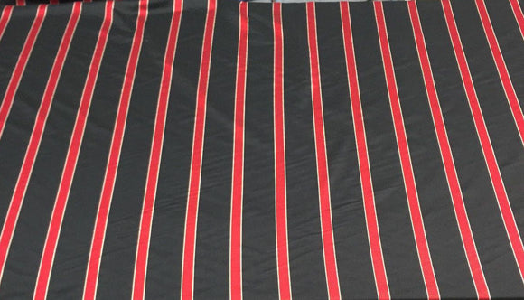 Black soft fabric Red stripes 120 inches double width By the yard