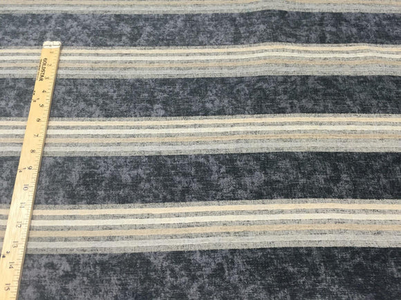 Moondance Stripe Licorice Blue Fabricut Upholstery chenille  Fabric By the yard