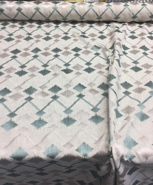 Bali Embroidered Seagrass Teal and gray  Polyester Cotton Fabric by the yard