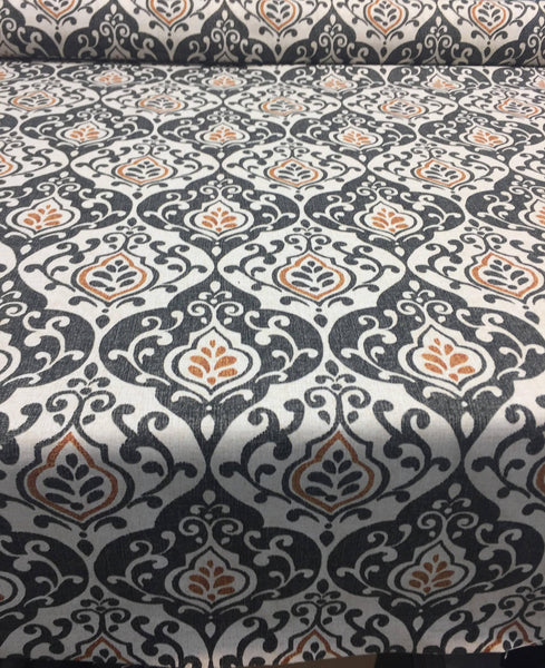 Reneta Damask Truffle Black Orange Cotton Fabric by the yard Multipurpose