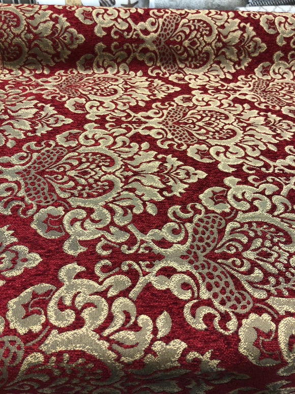 Chenille Upholstery Damask Ruby Red Gold Print Cleopatra  fabric By The Yard