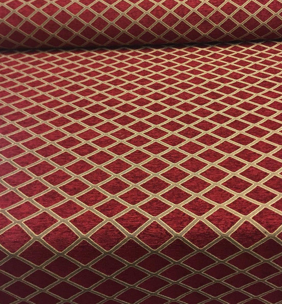Chenille Upholstery Diamond Ruby Gold Print Cleopatra  furniture fabric By The Yard