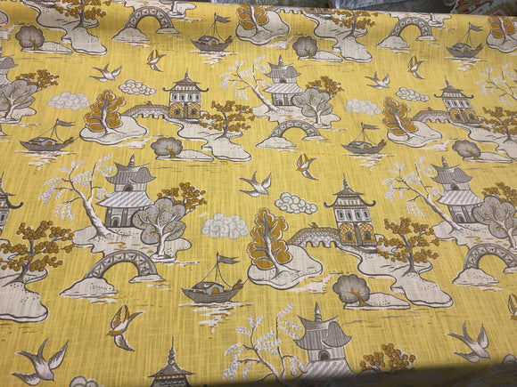 Xanadu Modern Toile Lemon Drop Yellow Home Accent Fabric by the yard