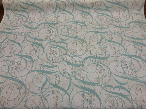 45'' Home Essentials Multipurpose Fabric Calligraphy Spring Blue By the Yard #2