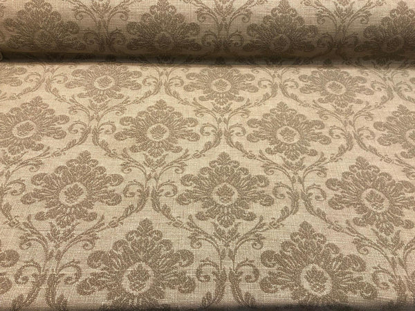 Sonia Damask Toast chenille Raised Upholstery Fabric Italian cut by the yard