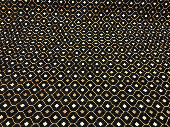 Black Gold Diamond Fabric Chenille upholstery Fabric by the yard