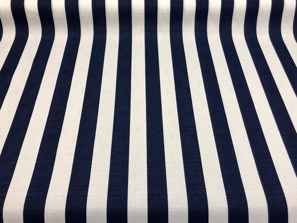 Solarium Outdoor Cabana Stripe Navy Blue white Fabric by the yard ...