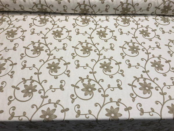 Everett Natural Floral Embroidered Fabric by the yard