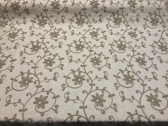 Everett Linen Floral Embroidered Fabric By The Yard