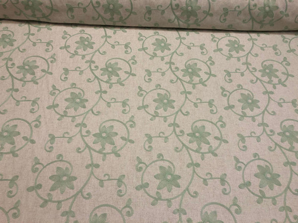 Everett Spa Blue Floral Embroidered Fabric By The Yard