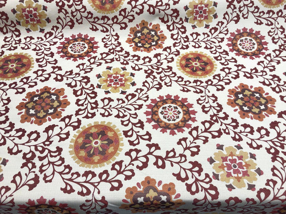 Richloom Alango Tomato Jacquard Tapestry Floral Fabric by the yard
