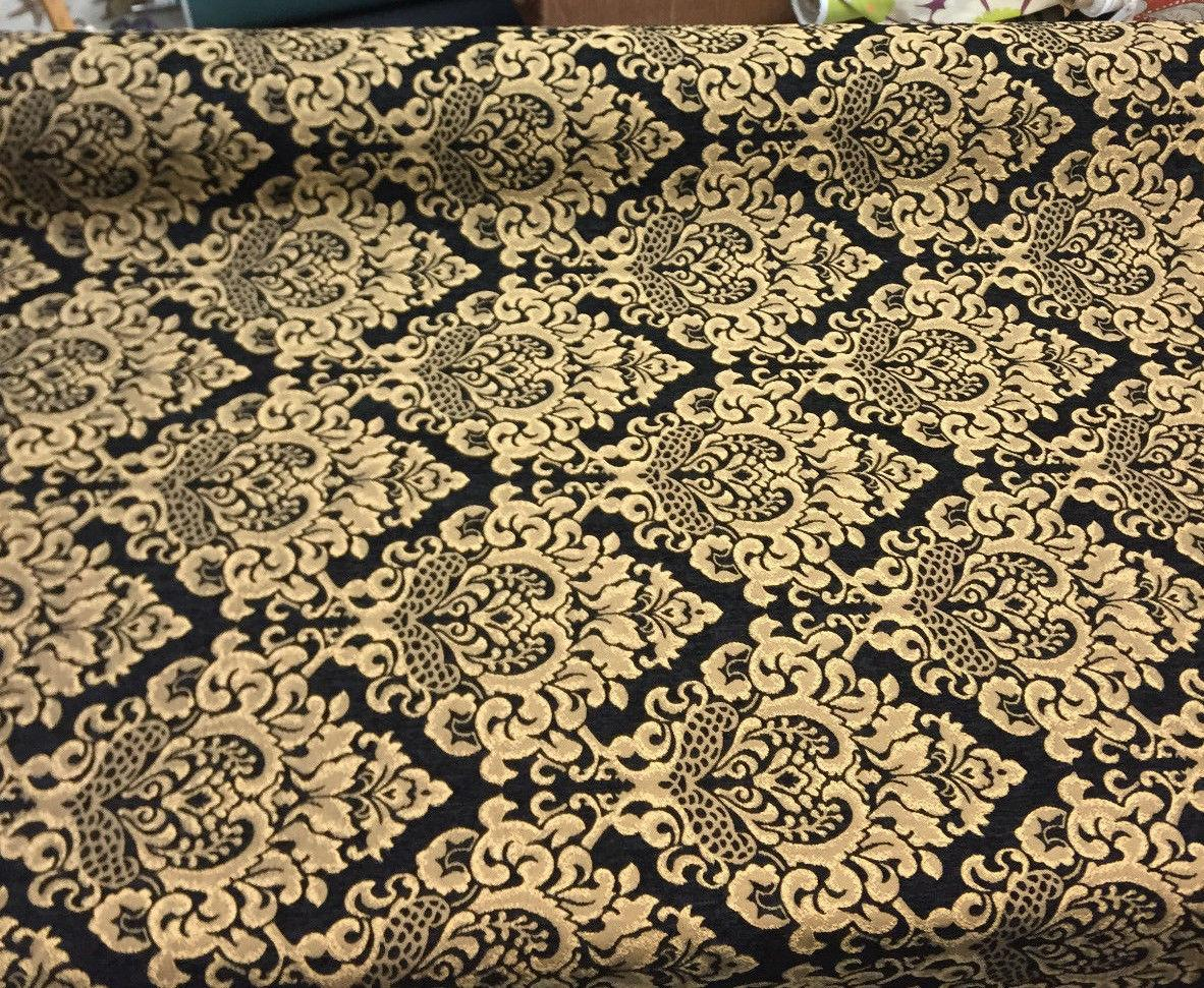 Chenille Damask Print Black Gold Cleopatra Furniture