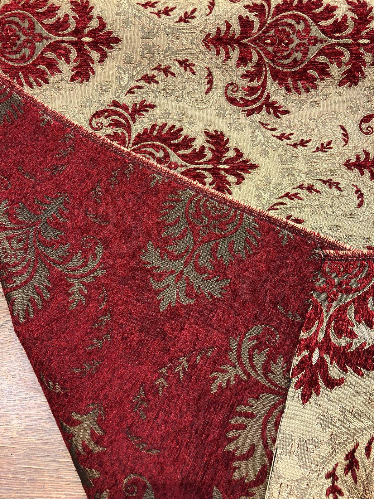 Sabrina Ruby Damask Fabric Chenille Upholstery Fabric By