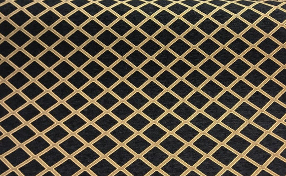 Black and gold diamond designed fabric cloth