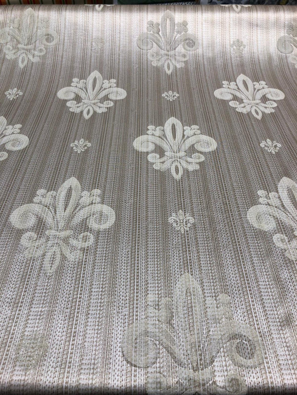 Fleur De Lis Oatmeal Stripe Damask Jacquard Drapery Upholstery Fabric By the yard