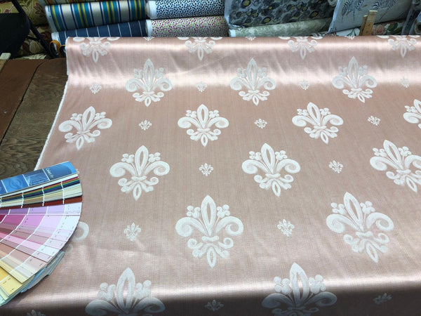 Fleur De Lis Salmon Rose Damask Jacquard Upholstery Fabric By the yard