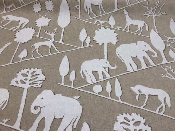 Braemore Jungle Walk Natural  Elephant Fabric By The Yard