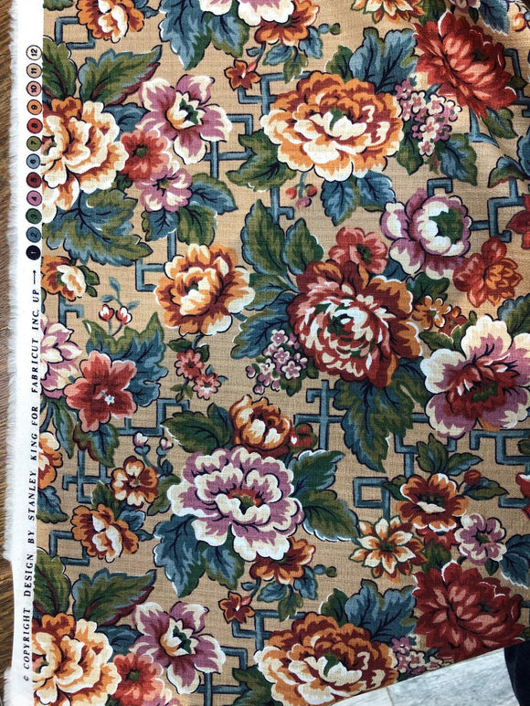Stanley King Fabricut Vintage Red Green Blue Floral Fabric By The Yard