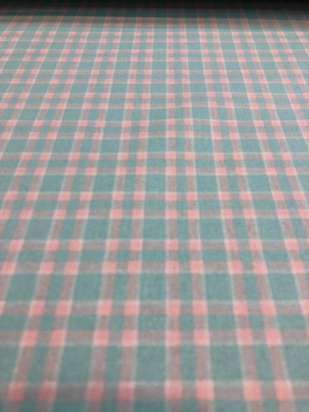 Cotton Gingam Pink Light Blue Plaid Bedding Fabric By The Yard