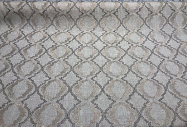 Barrister Natural Excellent for Drapery Embroidered Fabric by the yard Lurex yarn
