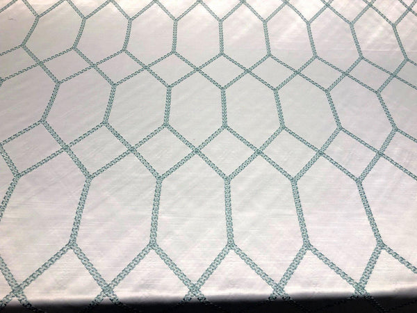 Avalon Sky Blue Jacquard Multi-Layer Geometric Embroidered Fabric by the yard