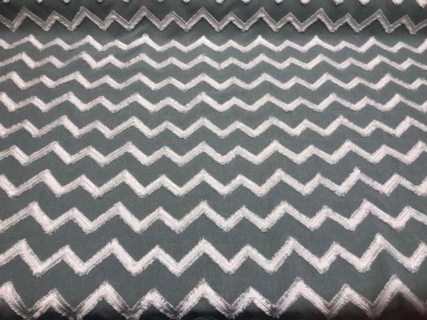 Ameril Symetric Spa Blue Chevron Embroidered Drapery Fabric by the yard