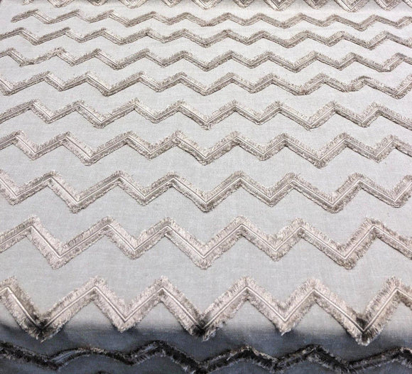 Ameril Symetric Linen Color Chevron Embroidered Drapery Fabric by the yard