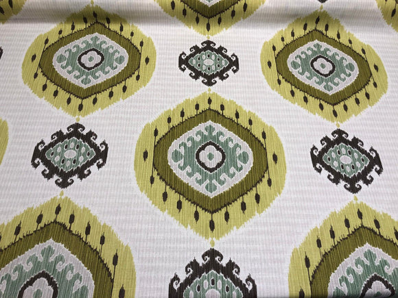 Vilber Ikat Green White Cotton Fabric by the Yard Drapery Upholstery 596