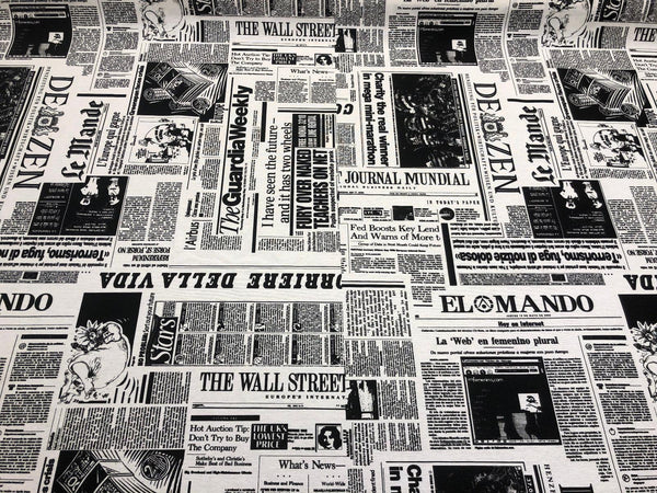 Wall Street Newspaper Cotton Drapery Upholstery Fabric by the yard