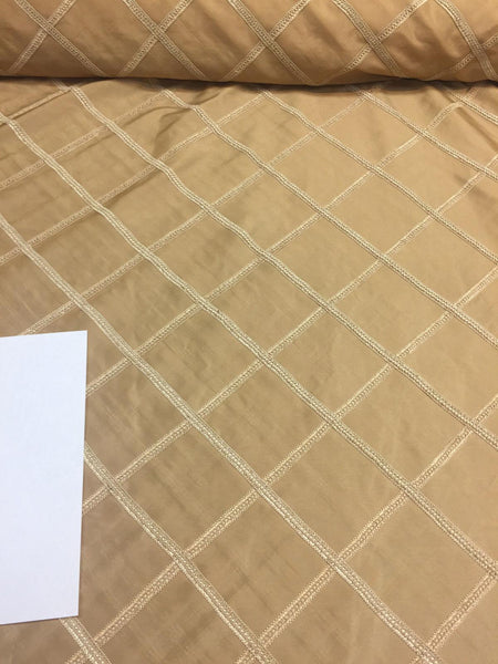 PARAMOUNT SOFT GOLD TRIM BRAIDED TAFFETA  DRAPERY FABRIC BY THE YARD