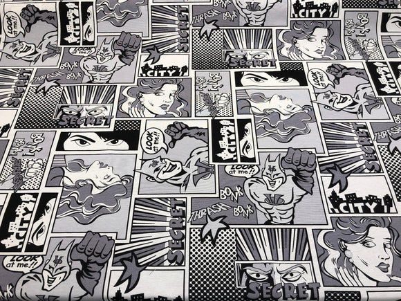 ArtCo Superhero Bonk Black white Cotton Drapery Upholstery Fabric by the yard