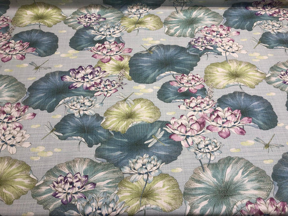 Estanque Blue Green Large Flowers Cotton Teflon finish Fabric by the yard