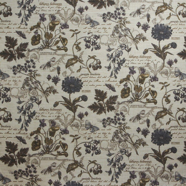 French Floral Scripture  Fabric Linen POLYESTER 54'' By the yard   Upholstery