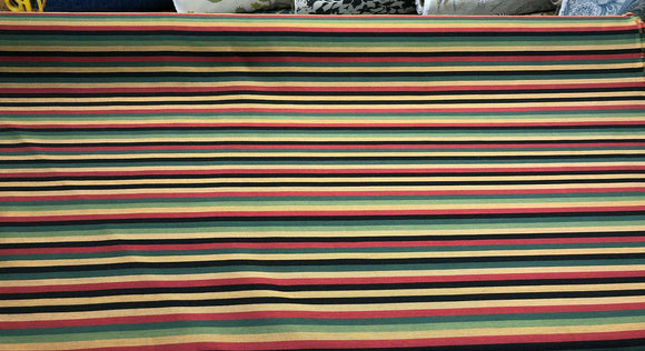 Fabricut Green Yellow Black Red Stripe Cotton Medium Fabric By The Yard