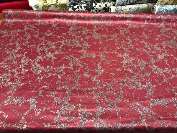 Maroon Floral Chintz Moving Editions Vintage Fabric By The Yard