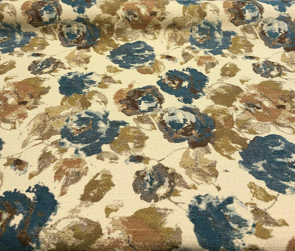 Water Floral Teal Gold Tapestry Upholstery Fabric by the yard