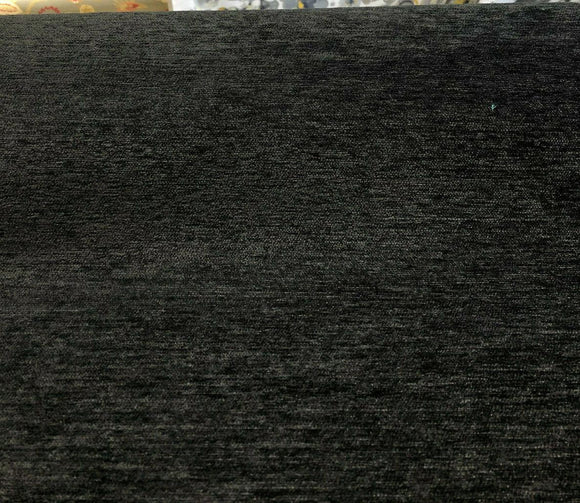 Barcelona Black Soft Chenille Upholstery Fabric By The Yard