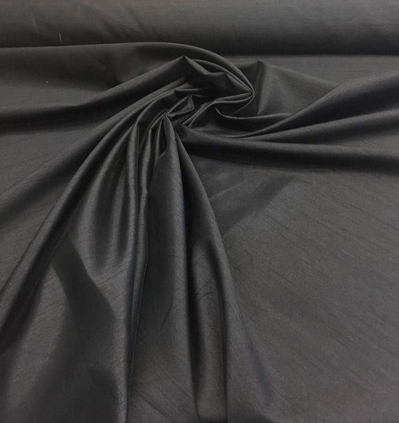 Black Dupioni Faux Silk Polyester Drapery Fabric by the yard 40 colors