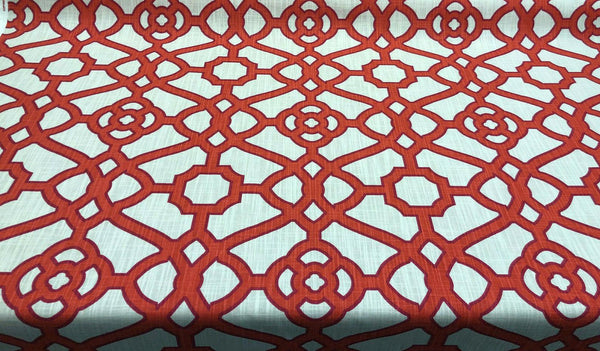 P Kaufmann Pavilion Fretwork Papaya Red Fabric by the yard