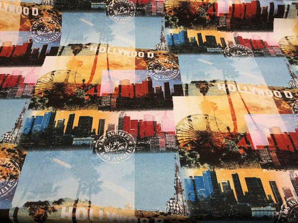 Los Angeles Hollywood Cotton Drapery Upholstery Fabric by the yard